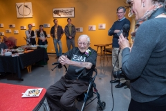 Bill Weber celebrates his 100th birthday with close family and friends at the CU Natural History Museum. (Photo by Glenn Asakawa/University of Colorado)